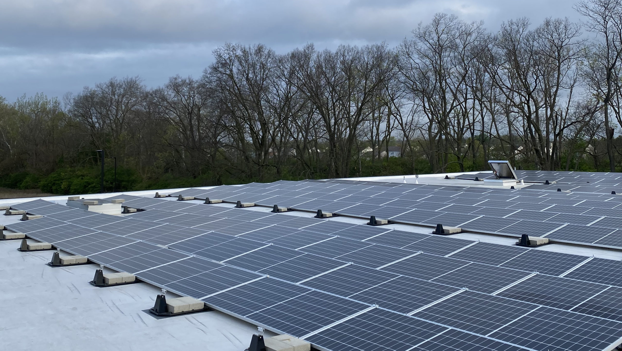 Solar panels installed on roof of new West Perry Branch Library in Indianapolis